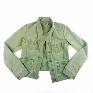 Womens Lucky Brand Light Army Green Jean Jacket
